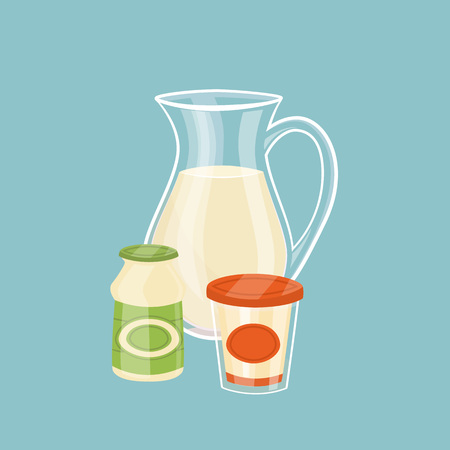 Dairy products isolated on blue background Illustration
