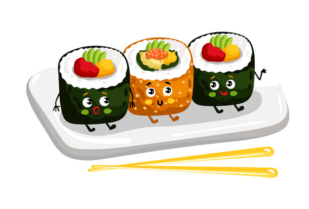 Funny sushi roll set on plate cartoon character Vectores
