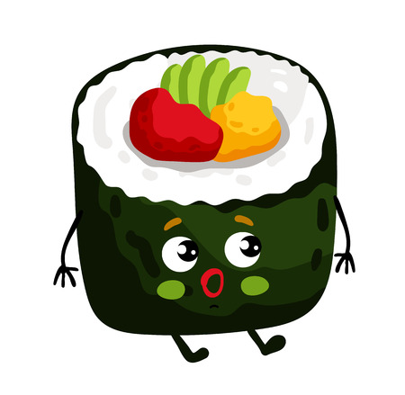 Funny sushi roll isolated cartoon character