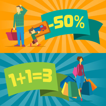 proposition: Sale banners with shopping people vector illustration. Price clearance concept, super sale promo, discount proposition, retail advertisement template. Young people shopping in mall poster in flat Illustration
