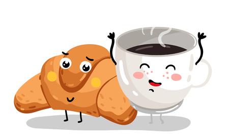 面白いクロワッサンとコーヒー カップの漫画のキャラクター