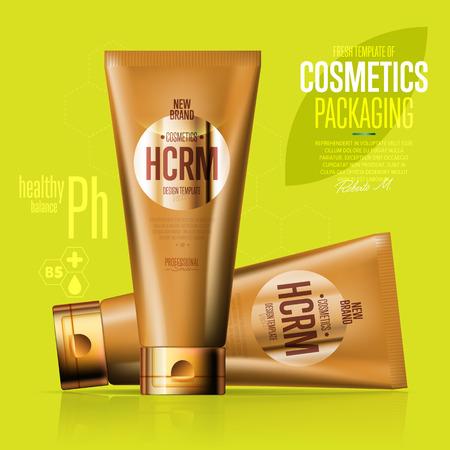 suntan cream: Realistic cosmetic suntan cream golden container Illustration