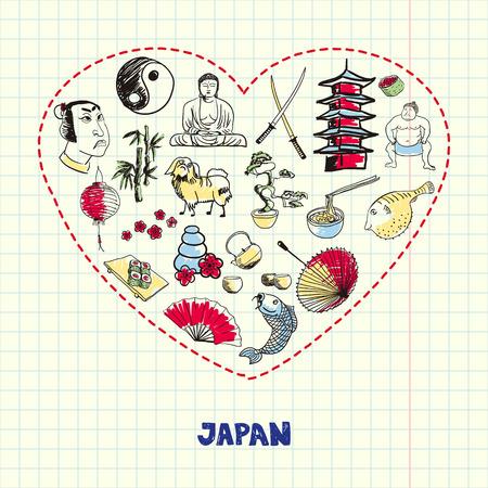 Japan Symbols Pen Drawn Doodles Vector Collection Illustration