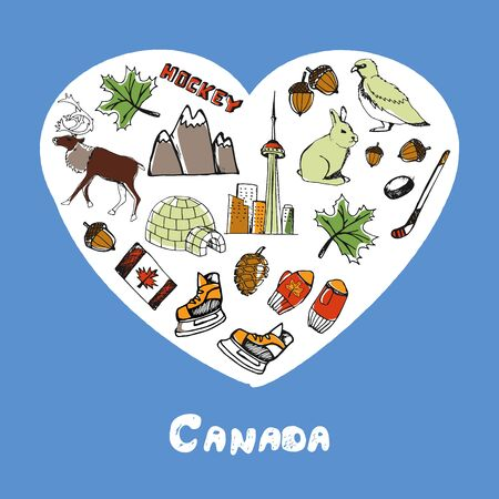 canadian flag: Canada Symbols Pen Drawn Doodles Vector Collection