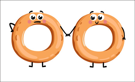 Funny bagel isolated cartoon character