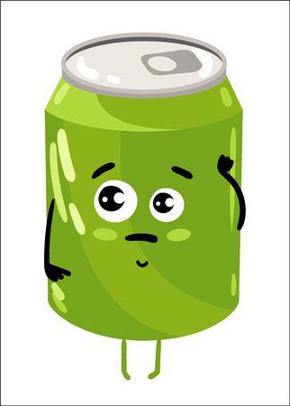 soda can: Funny soda can isolated cartoon character
