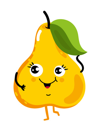 Funny fruit pear isolated cartoon character