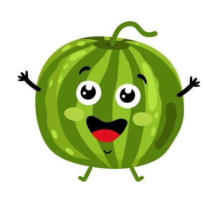 personnage de dessin animé isolé pastèque drôle de fruit