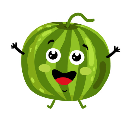 Funny fruit watermelon isolated cartoon character Illustration