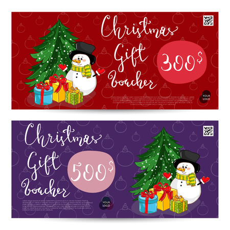 Christmas Gift Voucher with Prepaid Sum Template Illustration