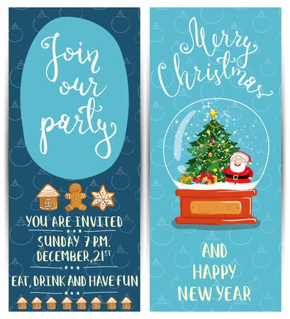 snowdome: Bright Cartoon Invitation on Christmas Fun Party