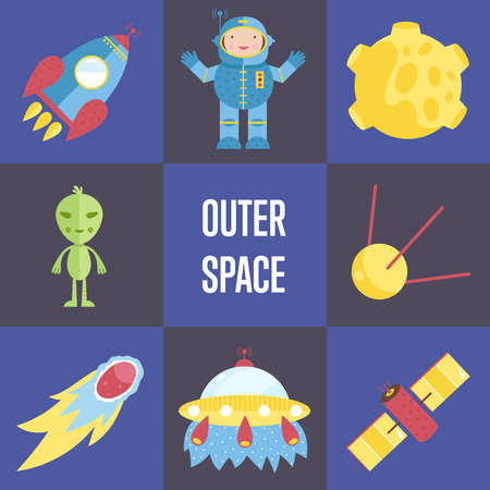 meteor crater: Space Cartoon Vector Icons Collection