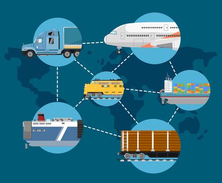 global logistics: Global logistics network concept in flat design