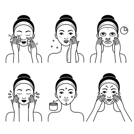 Face skin care vector set with girl