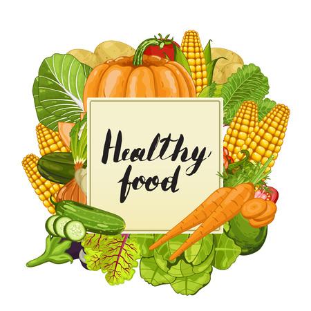 pumpkin tomato: Healthy food banner vector illustration. Fresh natural vegetable, vegetarian nutrition, organic farming, vegan diet, eco product. Organic food concept with carrot, pumpkin, tomato, cucumber, eggplant