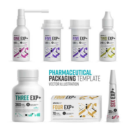 Pharmacy package template on white background Vector Illustration
