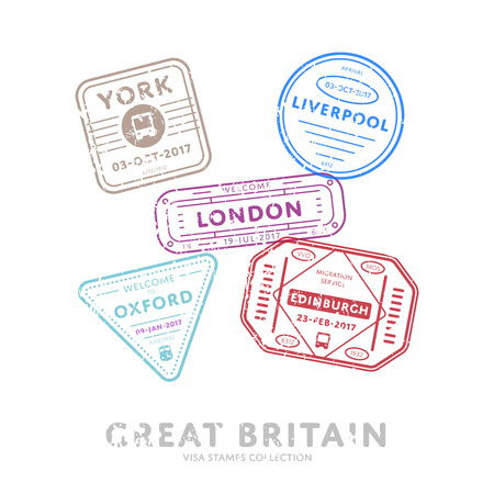 oxford: International travel visa stamps.