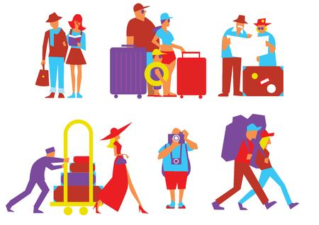 people traveling: Traveling people set in flat design