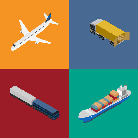 freight transportation: Logistics and freight transportation icon set