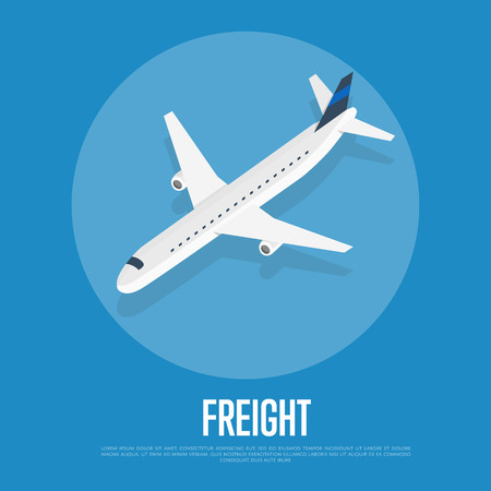 Delivery freight isometric banner with plane