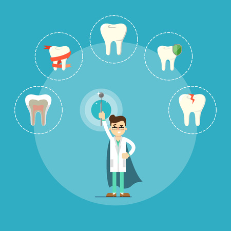 Dental health banner with male dentist Illustration