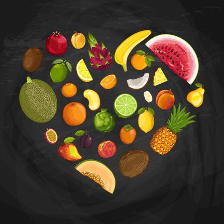 forme: Composition de forme de coeur de fruits frais