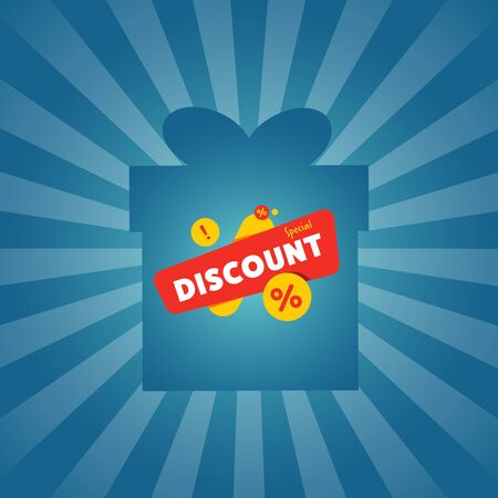 best ad: Special discount sticker on box silhouette Illustration