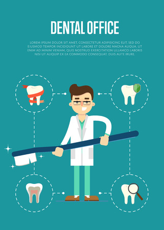 orthodontist: Dental office banner with male dentist