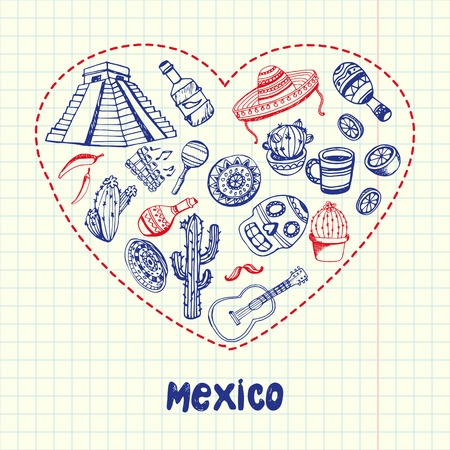 Mexico Pen Drawn Doodles Vector Collection