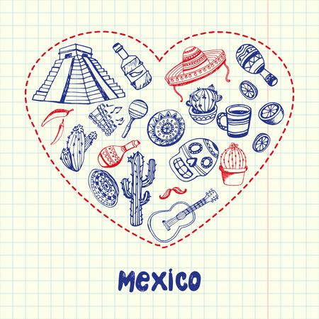 Collection de vecteur Doodles Drawn Mexique stylo