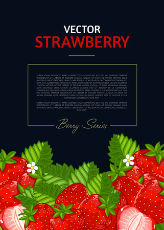 Organic berry banner with juicy strawberry