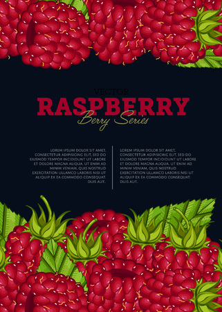 Organic berry banner with juicy raspberry