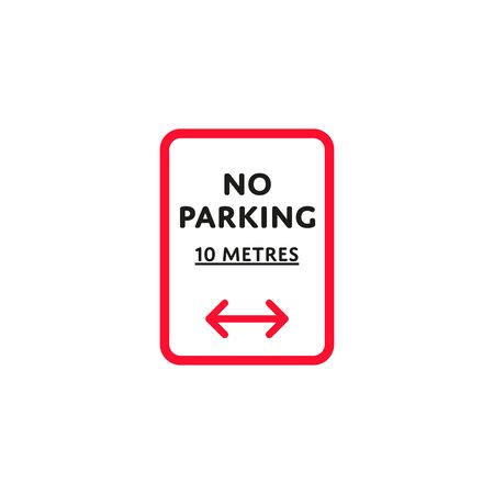 No parking to left and right roadsign isolated Illustration