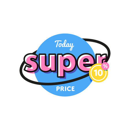 Discount tag with special offer sale sticker. Illustration