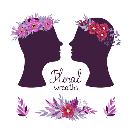 Floral wreath on the heads, raster illustration Stock Photo
