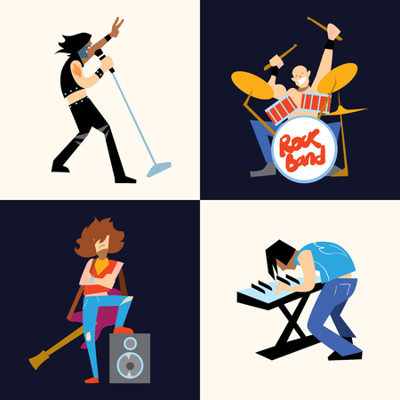 Rock band music group with musicians concept of artistic people raster illustration Stock Photo