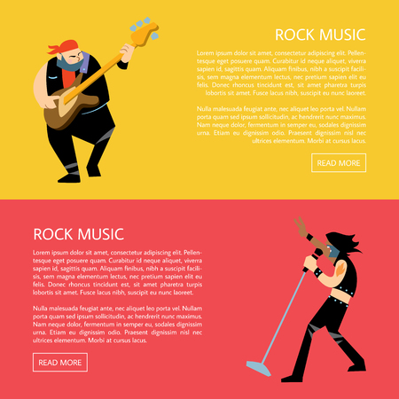 Set of templates of banners with rock musicians playing different instruments with space for text raster illustration