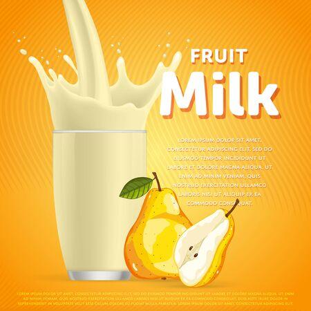 Pear sweet milkshake dessert cocktail glass fresh drink in cartoon raster illustration Stock Photo