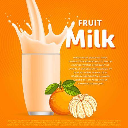 Mandarin sweet milkshake dessert cocktail glass fresh drink in cartoon raster illustration Stock Photo