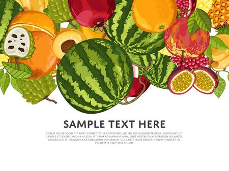 Fruit mix with leaves on wite background raster illustration Stock Photo