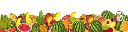 wite: Fruit mix with leaves on wite background raster illustration Stock Photo