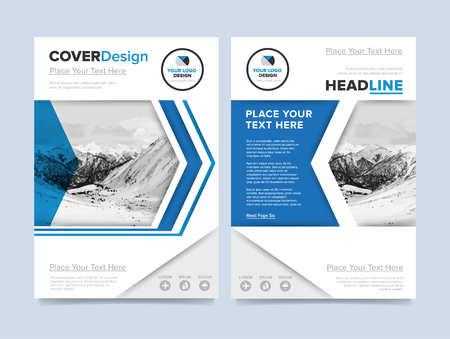 cooper: Brochure cover presentation design template raster. Blue annual report abstract flat background. Leaflet layout. Corporate document. Business booklet concept. Stock Photo