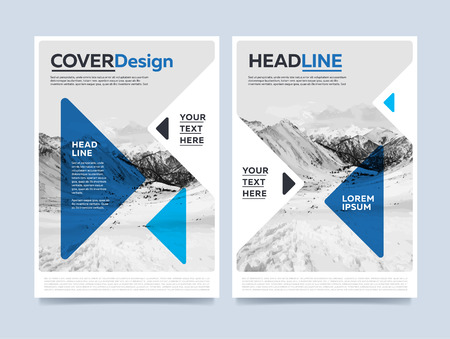 Brochure cover presentation design template raster. Blue annual report abstract flat background. Leaflet layout. Corporate document. Business booklet concept. Stock Photo