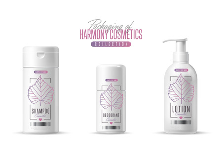 single songs: Harmony organic cosmetic brand raster packaging template, body care product. Oil, lotion or soap, shampoo, cream. Realistic bottle mock up set, isolated pack on white background.