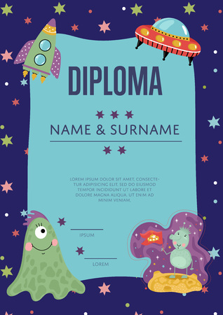 Diploma Cartoon Vector Template Illustration