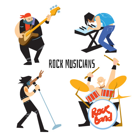 Rock band, music group with musicians concept of artistic people vector illustration. Singer, guitarist, drummer, and keyboardist isolated characters performing. Rock star concept in flat design.