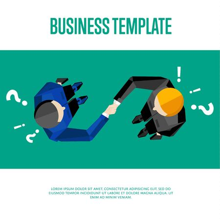 Business template. Top view partners handshaking