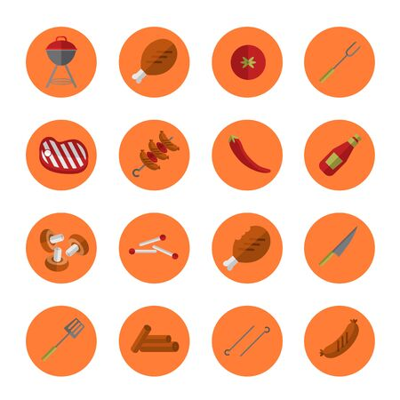 Barbecue grill round icons set Stock Photo