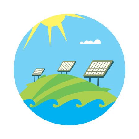 Clean energy banner. Sun power generation