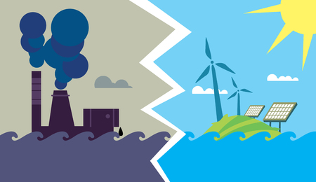 Evolution from industrial pollution to eco energy Foto de archivo